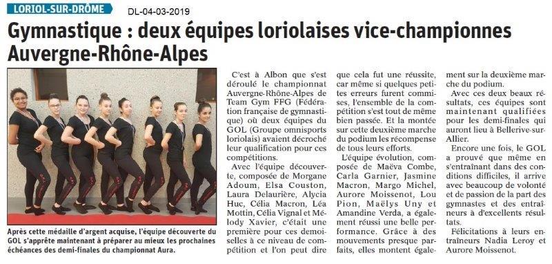 Le Dauphiné Libéré du 04-03-2019- Gym loriolaise