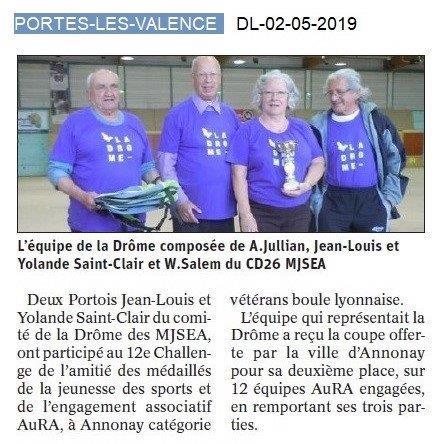 Le Dauphiné Libéré du 02-05-2019- 2ième Challenge MJSEA AuRA 25-04-2019