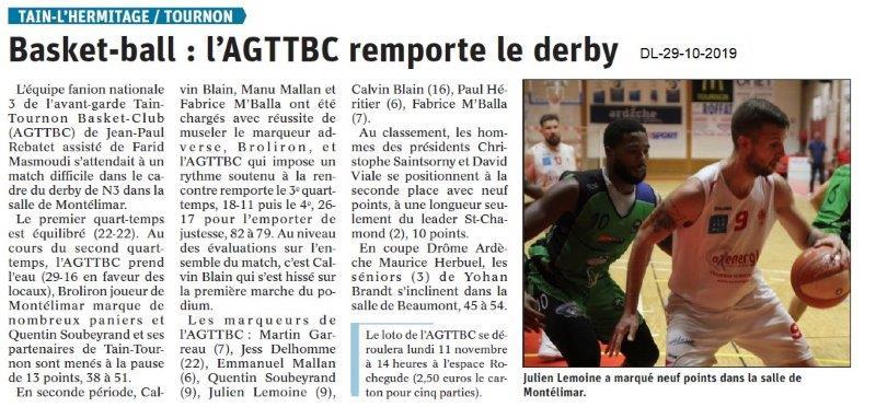 le Dauphiné Libéré du 29-10-2019- Basketteurs de Tain-Tournon