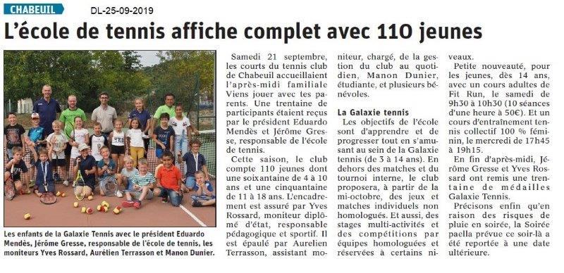 Dauphiné libéré du 25-09-2019- Tennis de Chabeuil
