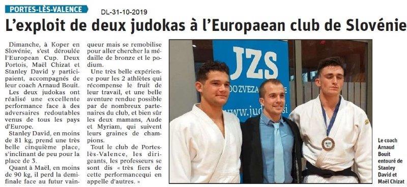 le Dauphiné Libéré du 30-10-2019- Judokas de PLV