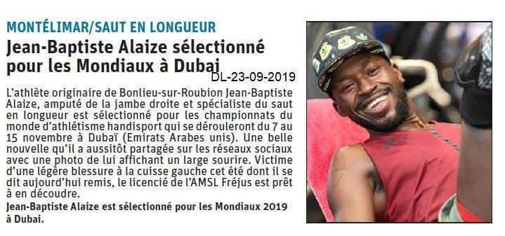 Dauphiné libéré du 23-09-2019- Saut en longueur - Sélectionné de Montélimar
