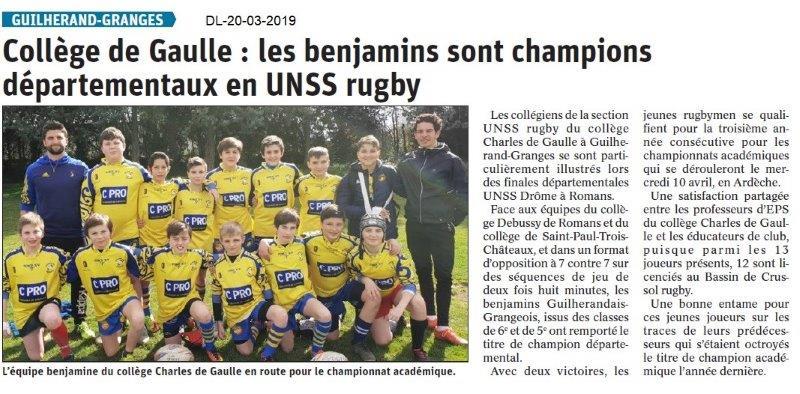 Dauphiné Libéré du 20-03-2019-Champions UNSS rugby de Guilherand