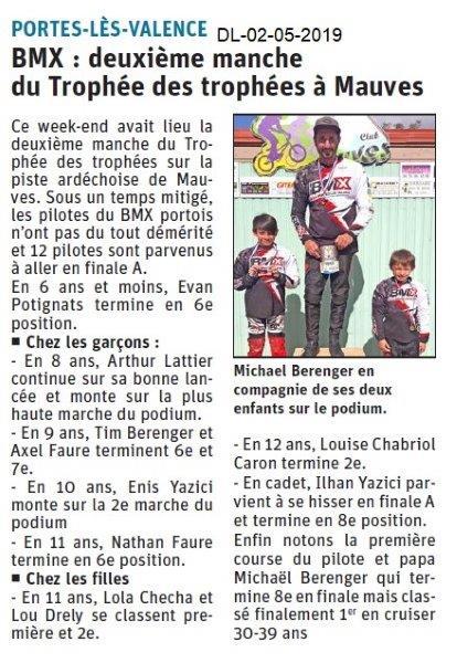 Le Dauphiné Libéré du 02-05-2019- BMX de PLV