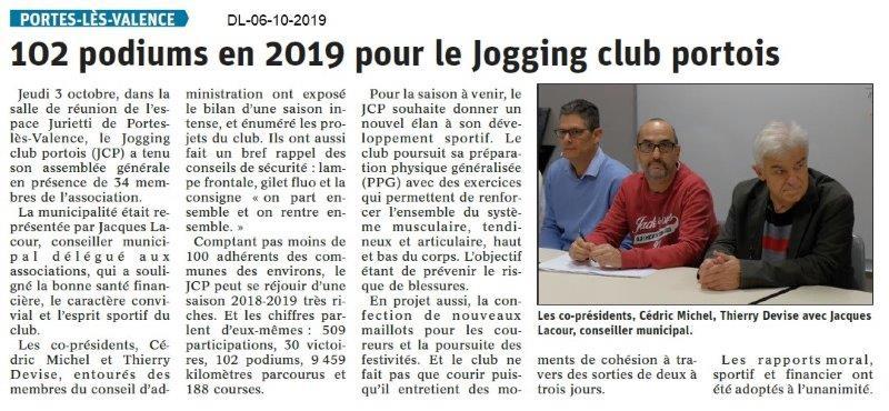 Dauphiné libéré du 06-10-2019- Jogging club portois