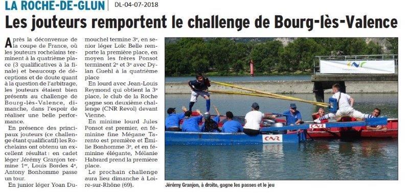 Dauphiné Libéré du 04-07-2018- Les joutes à La Roche de Glun