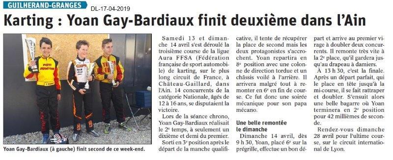 Le Dauphiné Libéré du 17-04-2019- Karting de Guilherand