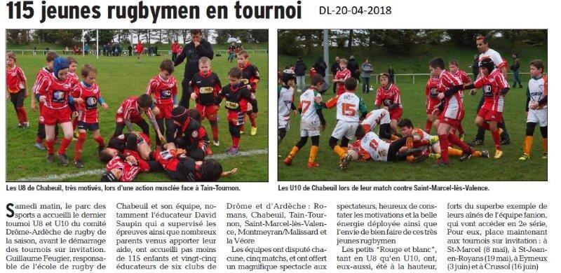 Dauphiné Libéré du 20-04-2018-Rugby à Chabeuil