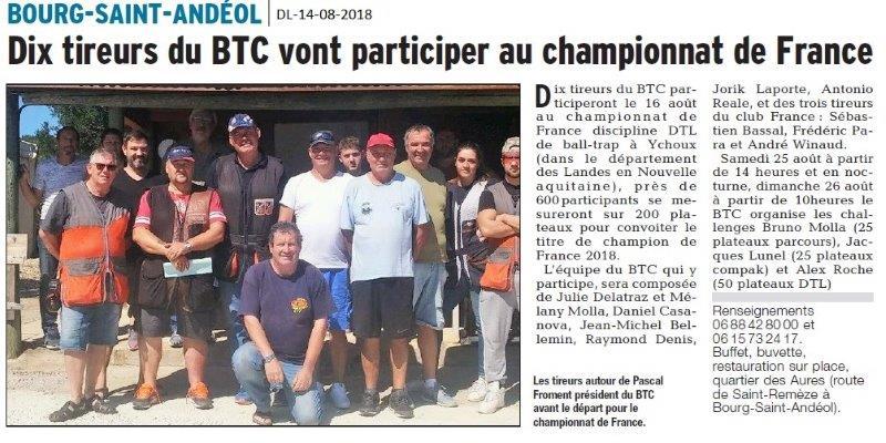 Dauphiné Libéré du 14-08-2018- BSA participera au championnat de France de Ball-trap
