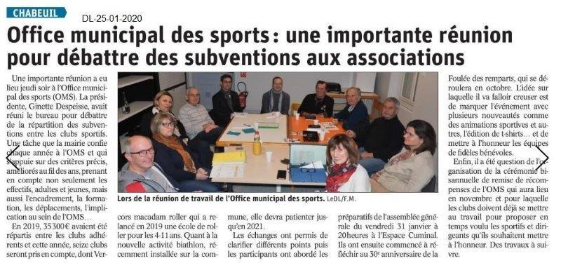 Dauphiné Libéré du 25-01-2020- OMS de Chabeuil
