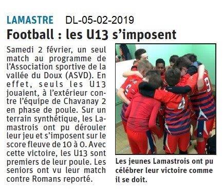 Dauphiné Libéré du 05-02-2019- Football à Lamastre