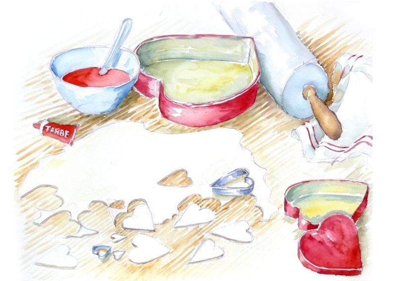 """Stecht dem Kuchenbäcker das letzte Stück Kuchen zu? Illustration des Buches """"Nein, wie ungerecht!"""" von Heilwig v. Massow"""