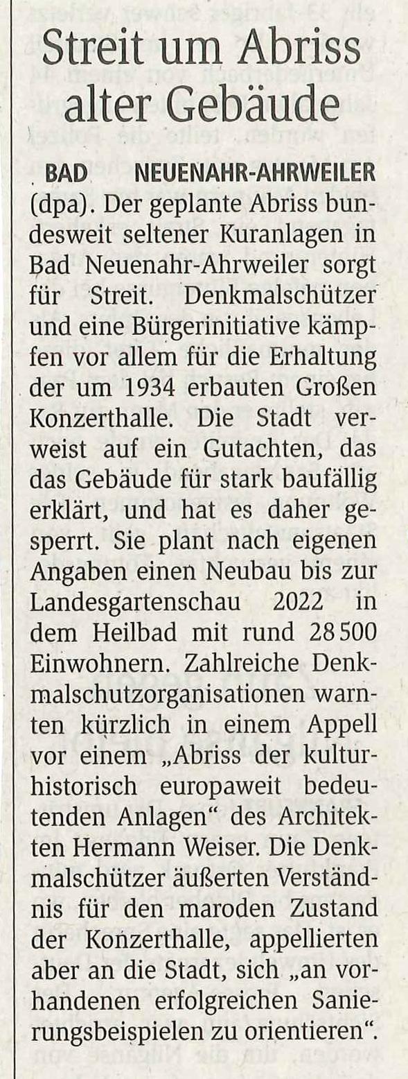 Mainzer Allgemeinen Zeitung zur Kuranlage in Bad Neuenahr