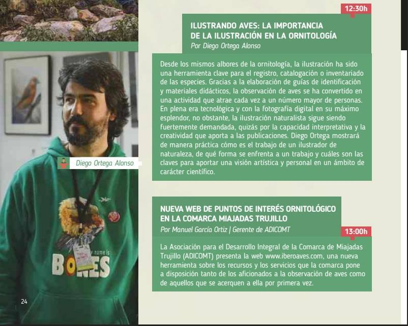 Captura del programa de conferencias X FIO Extremadura Birdwatching Fair. 2015