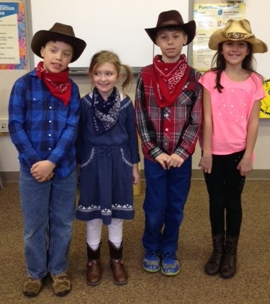 Cowboys and Cowgirls...these students donated a dollar to the Backpack fund and dressed up like cow folk.