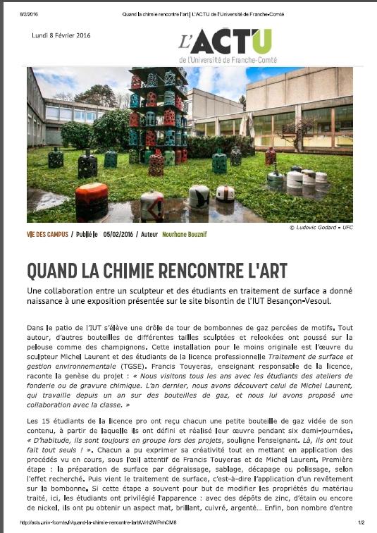Sculpture sur bouteilles de gaz. Projet réalisé à l'IUT de Besançon. © Michel LAURENT (MichL)