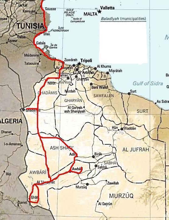 Das war unsere gesamte Strecke in Nordafrika.