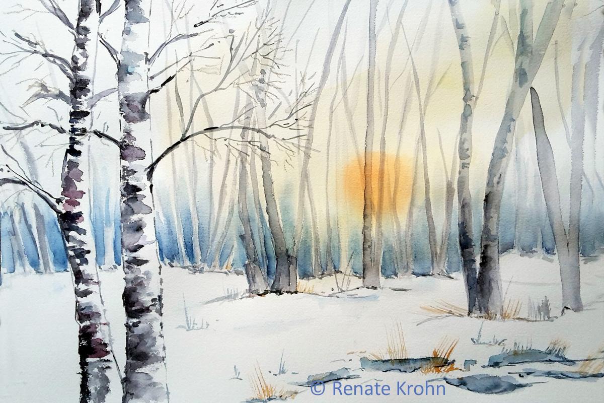 2020 Dezember Winterwald Aquarell Renate Krohn
