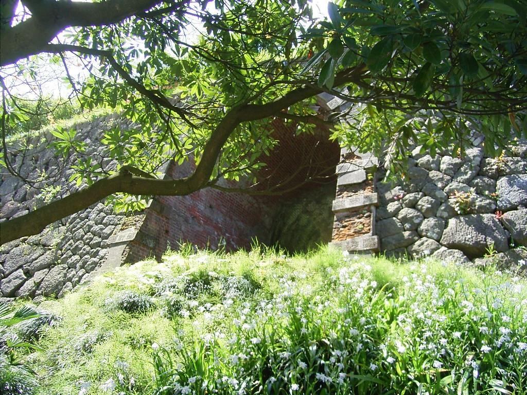 戌亥櫓(いぬいやぐら)跡の石垣をくり抜いた煉瓦のトンネル。明治期に陸軍が造った。学生時代にここに自転車を放置して盗まれてしまった。