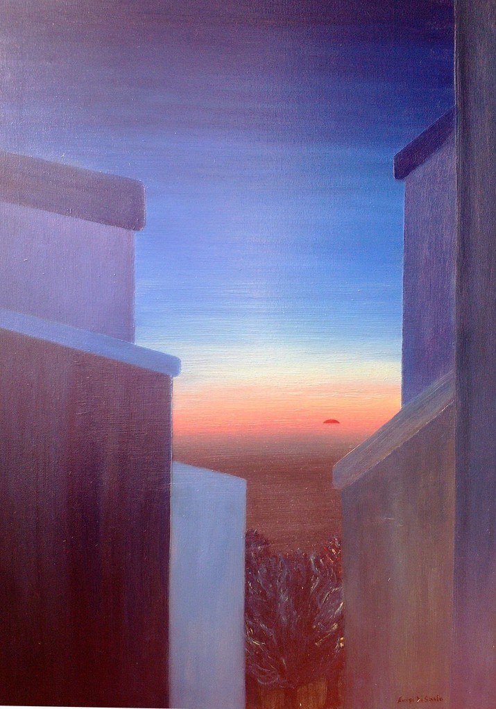 TRAMONTO URBANO (olio su tela 50 x 70) [SUNSET URBAN oil on canvas 50 x 70]