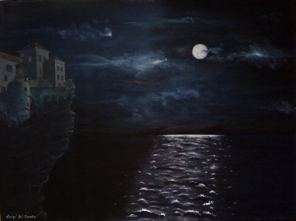 AL CHIARO DI LUNA (olio su tela 50 x 70) [MOONLIGTH oil on canvas 50 x 70]