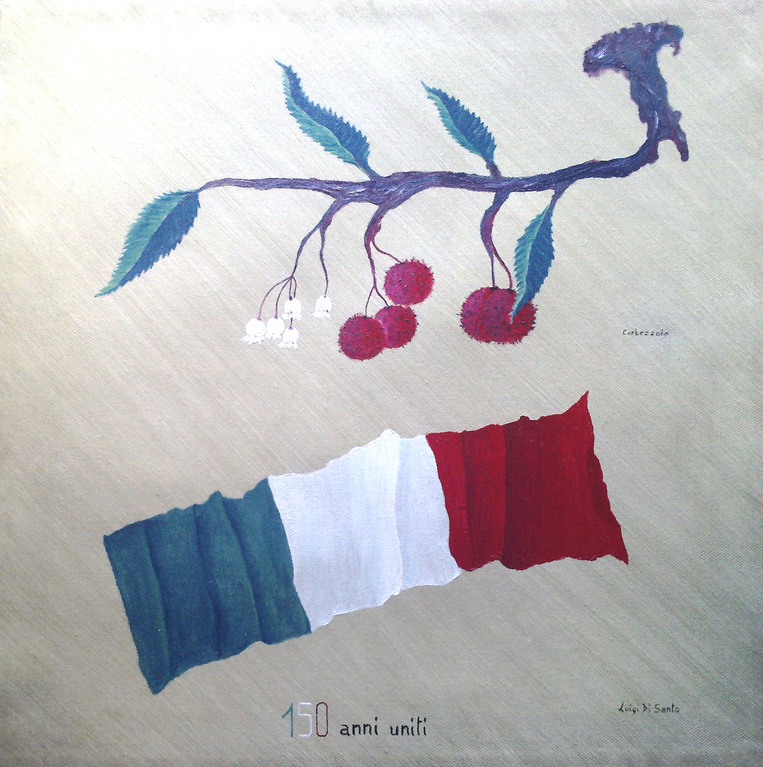 150 ANNI UNITI (olio su tela 40 x 40) [150 YEARS UNITED oil on canvas 40 x 40]