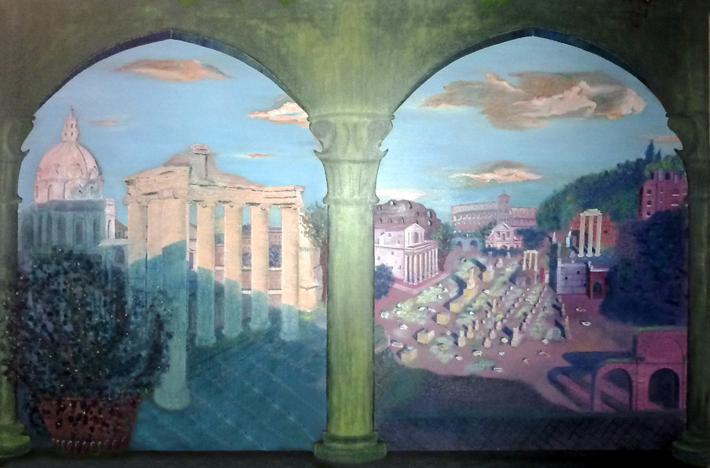 VEDUTA DEL FORO ROMANO (olio su tela 100 x 150) venduto [VIEW OF THE ROMAN FORUM oil on canvas 100 x 150] sold