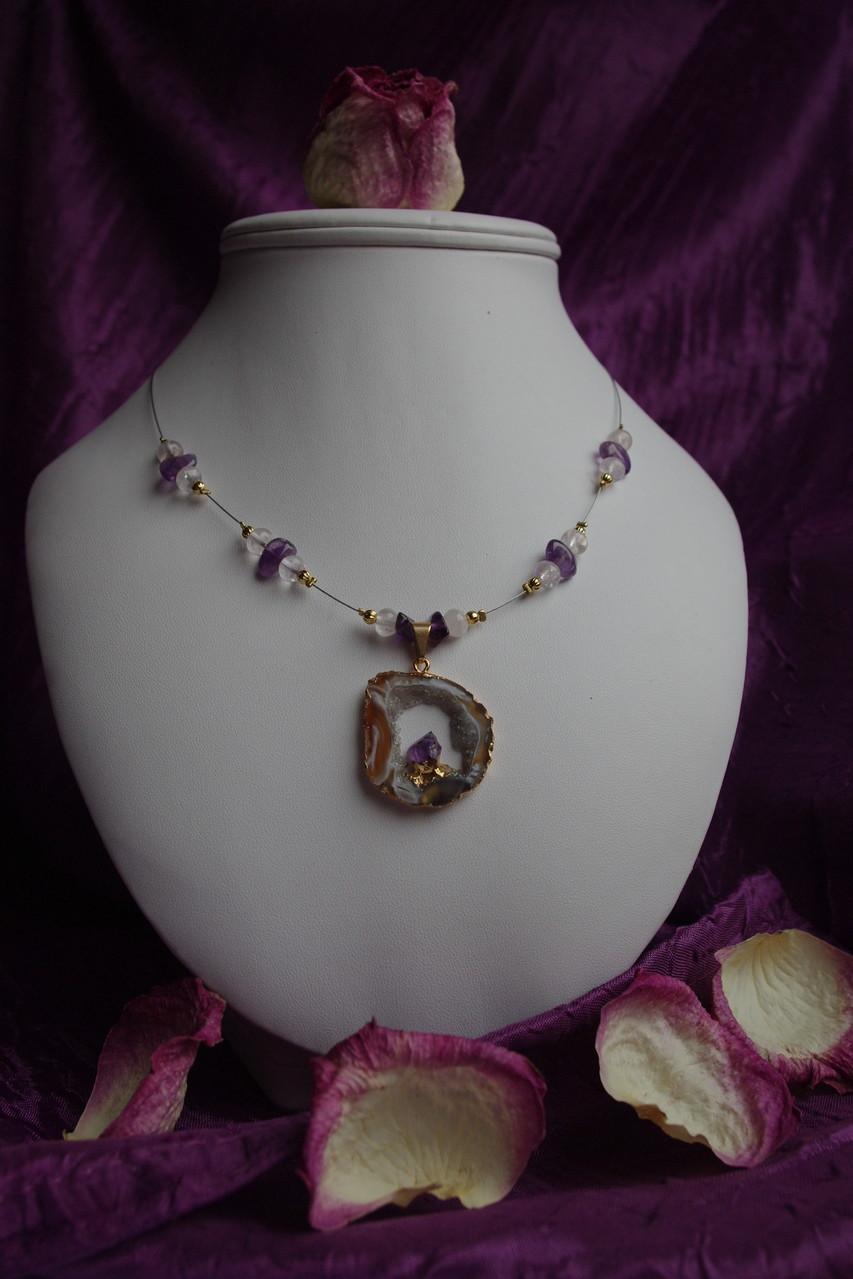 pendentif en agate et améthyste, quartz rose