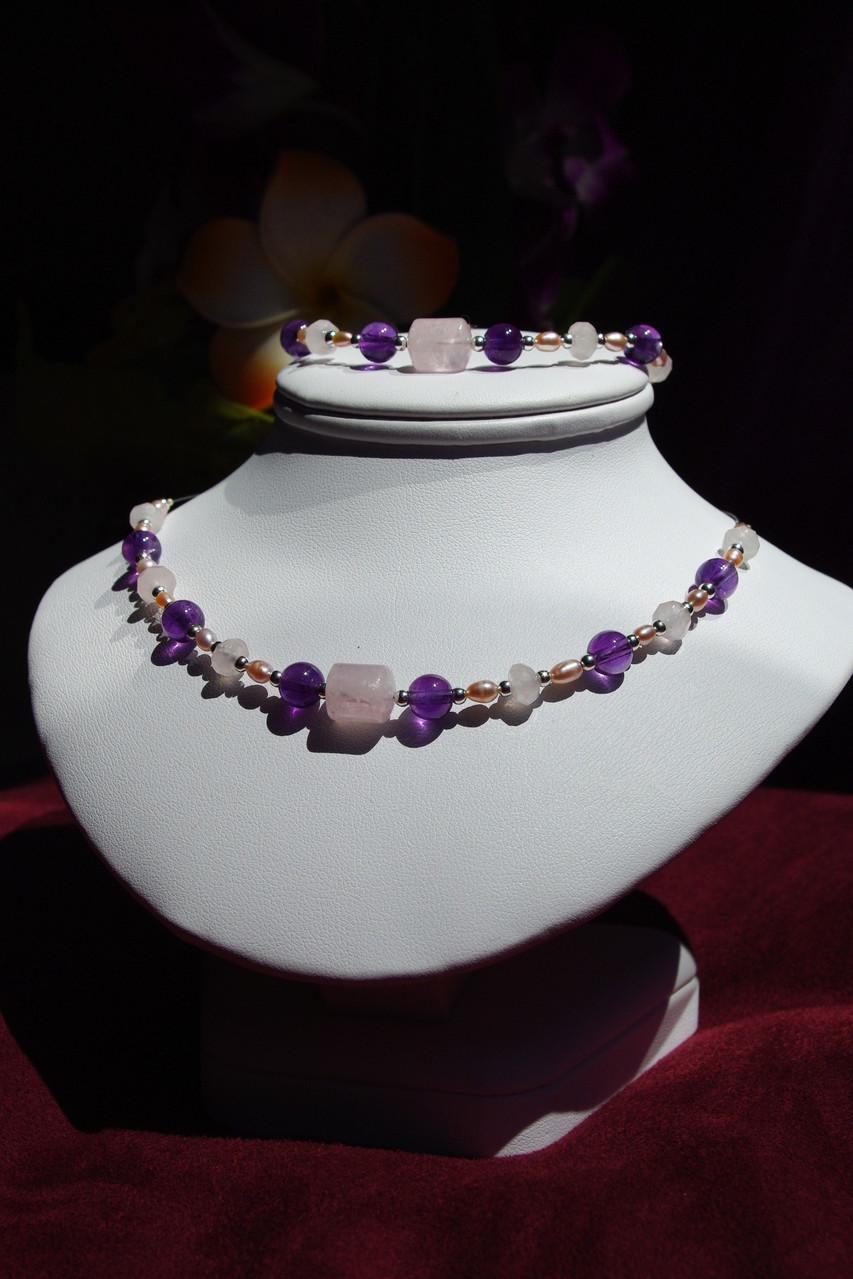 améthyste,quartz rose et perle