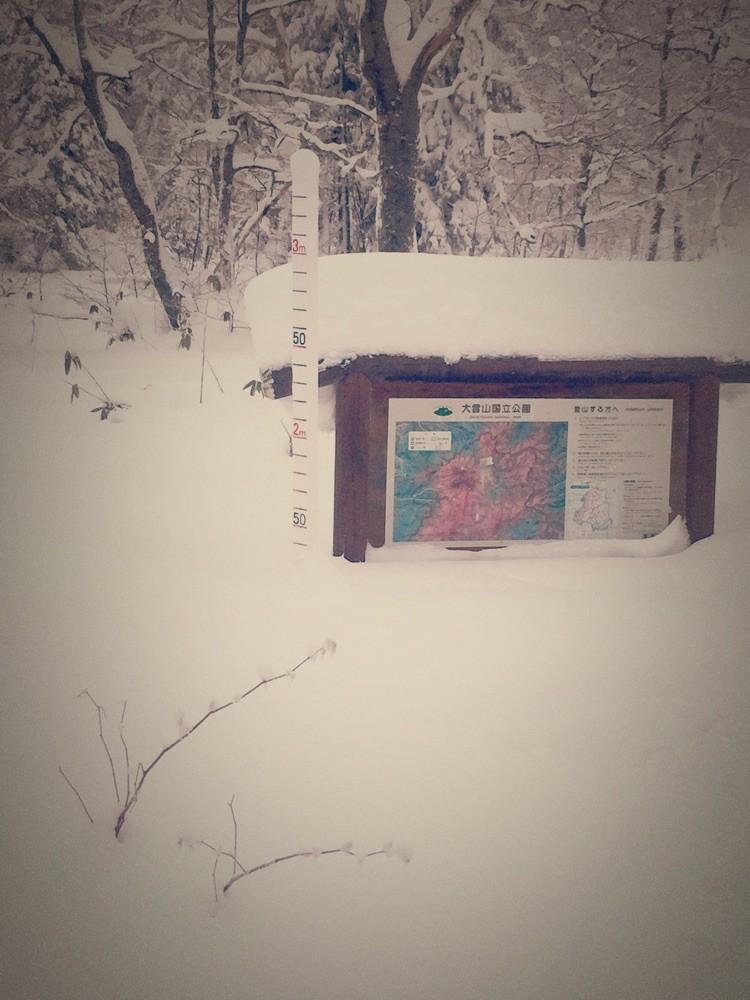 ロープウェイ乗場の積雪