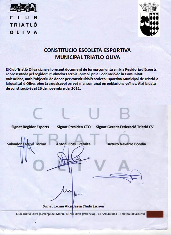 Document de Constitució Escoleta Club Triatló Oliva I Gala Oliva és Triatlló 26-11-2011
