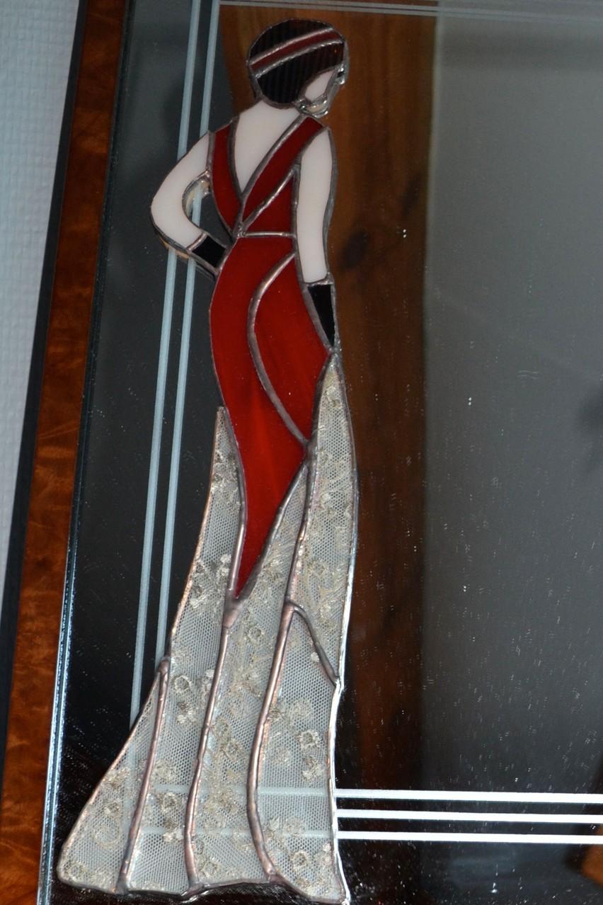 Miroir décor sablage et femme Tiffany (détail)
