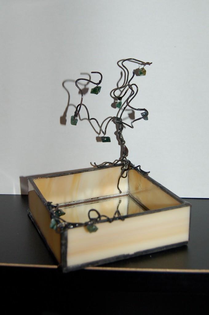 Vide-poche Tiffany arbre en cuivre étamé avec perles de rocaille