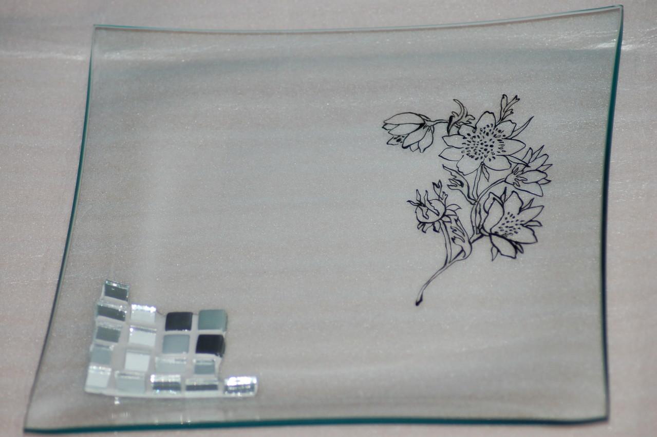 Vide-poche verre peint et mosaïque