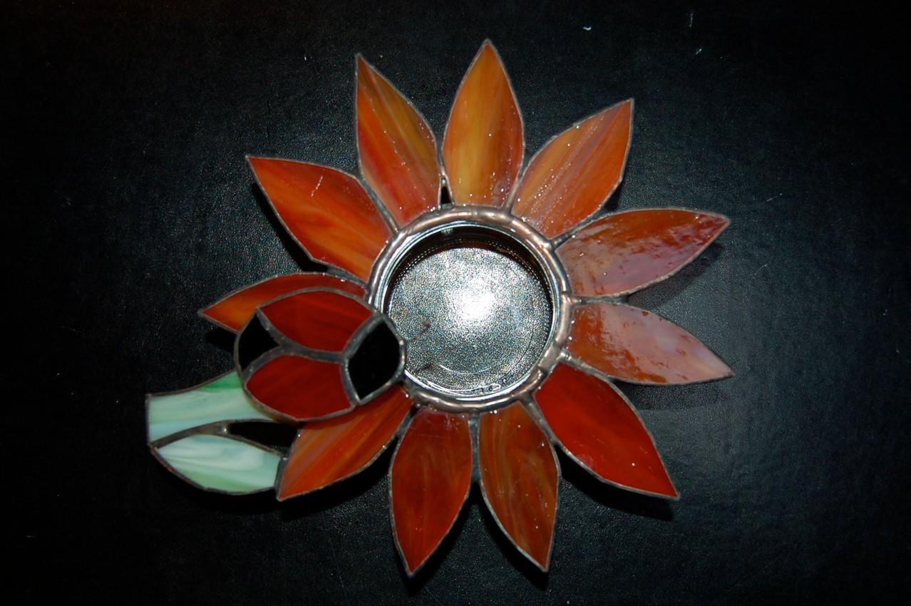 Photophore fleur en Tiffany pour bougie flottante