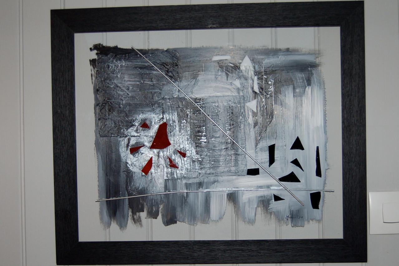 Tableau verre peint et collage verre
