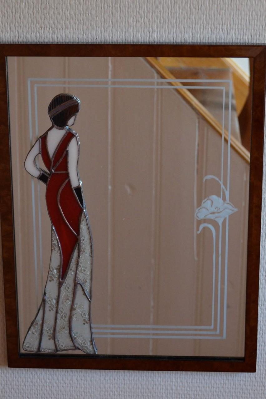 Miroir décor sablage et femme Tiffany