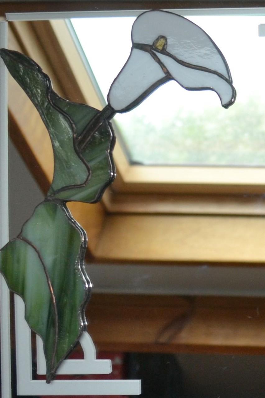 Miroir décor sablage et Arum Tiffany (détail)