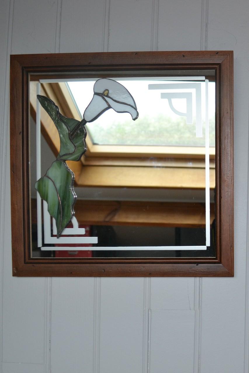 Miroir décor sablage et Arum Tiffany