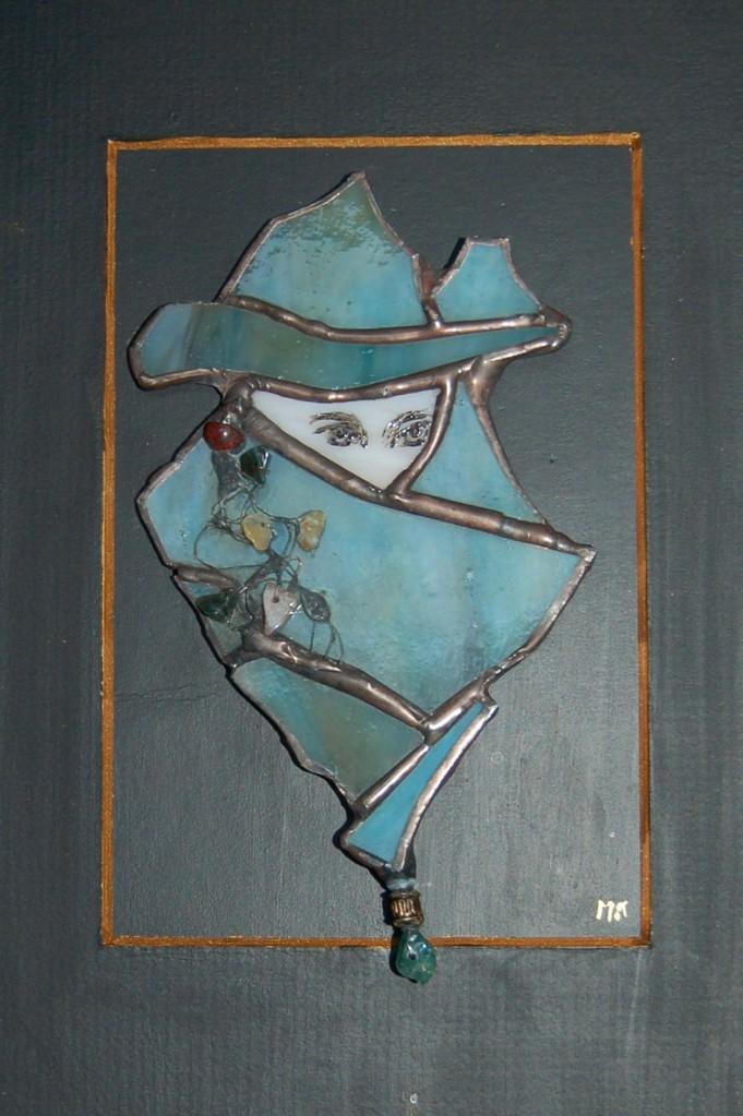 Tableau masque vénitien réalisé en Tiffany sur cadre bois