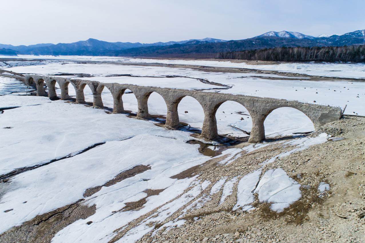 2019.4.18 上士幌町糠平 糠平湖 タウシュベツ川橋梁