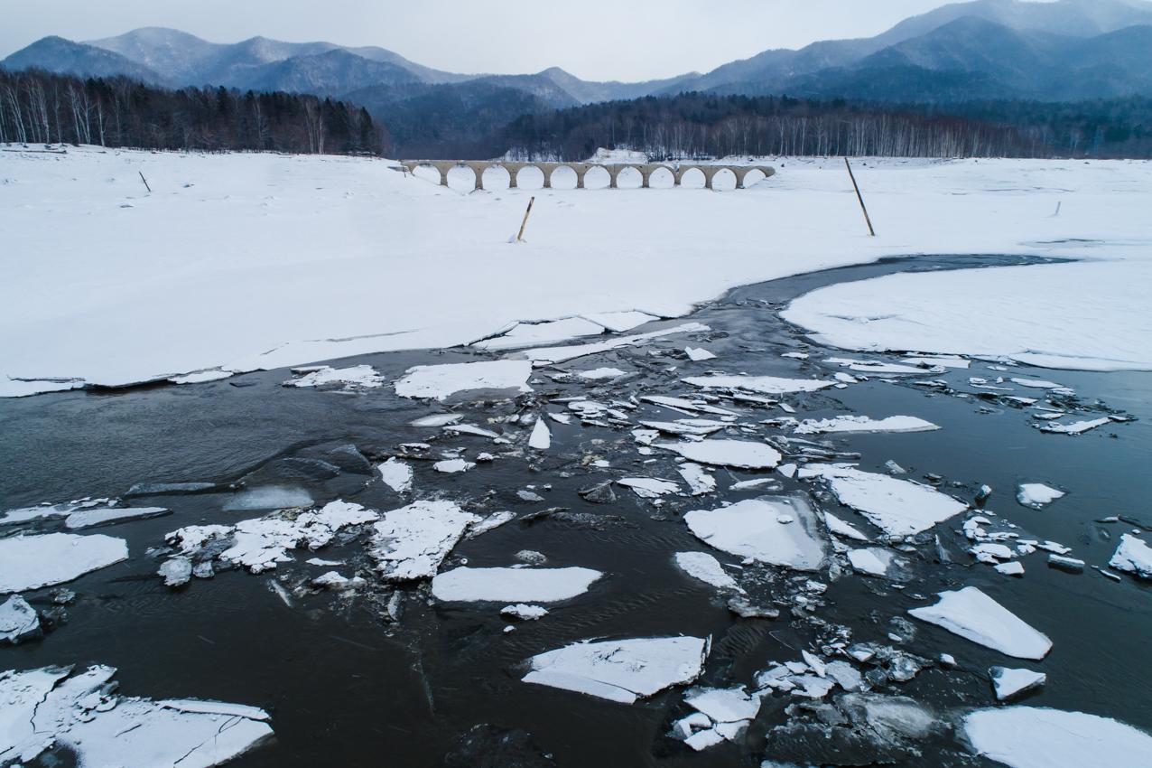2019.2.18 上士幌町糠平湖 タウシュベツ川橋梁