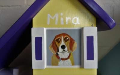 Urn hond vogelhuisje huisdier hond portret