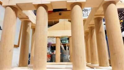 Vogelvoederhuis Acropolis kleine vogels vogelhuisje houten Grieks_1