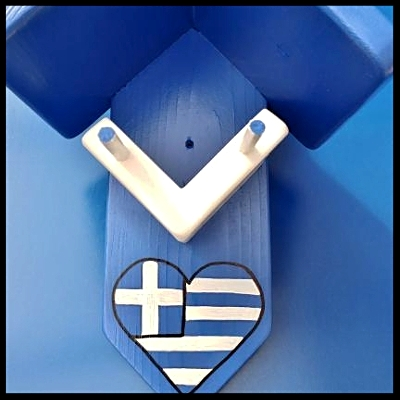 Grieks pindakaas pot, blauw-wit met Griekse vlag