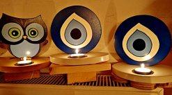 Sfeerlicht, theelichthouder hout_Grieks oog, blauw-wit