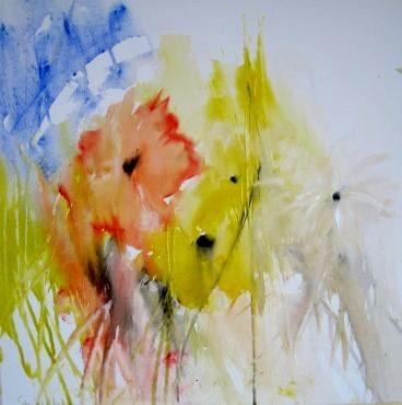 """Nr. 439 7 """"Ein kleiner Sonnenstrahl"""" /  60 cm x 60 cm / Acryl auf Leinwand"""