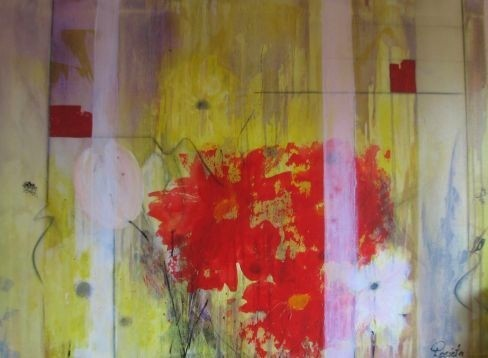 "Nr. 456 / ""Blumengruß"" / 80 cm x 60 cm / Acryl auf Leinwand"