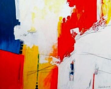 """Nr. 275 / """"Treffpunkt"""" / 100 cm x 80 cm / Acryl auf Leinwand"""