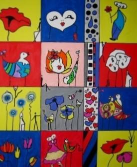 """Bild Nr. 515 / """"Liebe das Leben 3"""" / 50 cm x 60 cm  / Acryl-Mischtechnik auf Leinwand"""